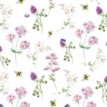 LITTLE JOHNNY BEES & FLOWERS, DIGITALLY PRINTED 100% COTTON.