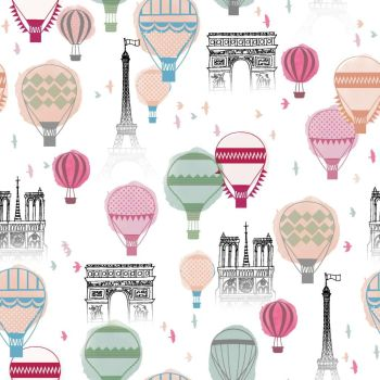 FROM THE SKETCHES OF PARIS COLLECTION. PARIS BALLOON, 100% COTTON.