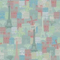 FROM THE SKETCHES OF PARIS COLLECTION. PARIS SCENE TEAL, 100% COTTON.