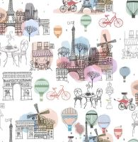 FROM THE SKETCHES OF PARIS COLLECTION. PARIS SCENE WHITE, 100% COTTON.