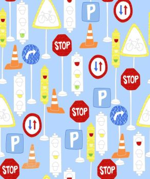 MOVE N ALONG BY FABRIC EDITIONS, TRAFFIC SIGNS, 100% COTTON.