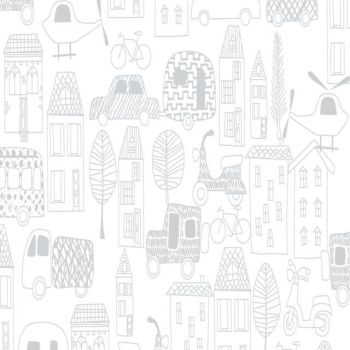 MOVE N ALONG BY FABRIC EDITIONS, TOWN OUTLINE, 100% COTTON.