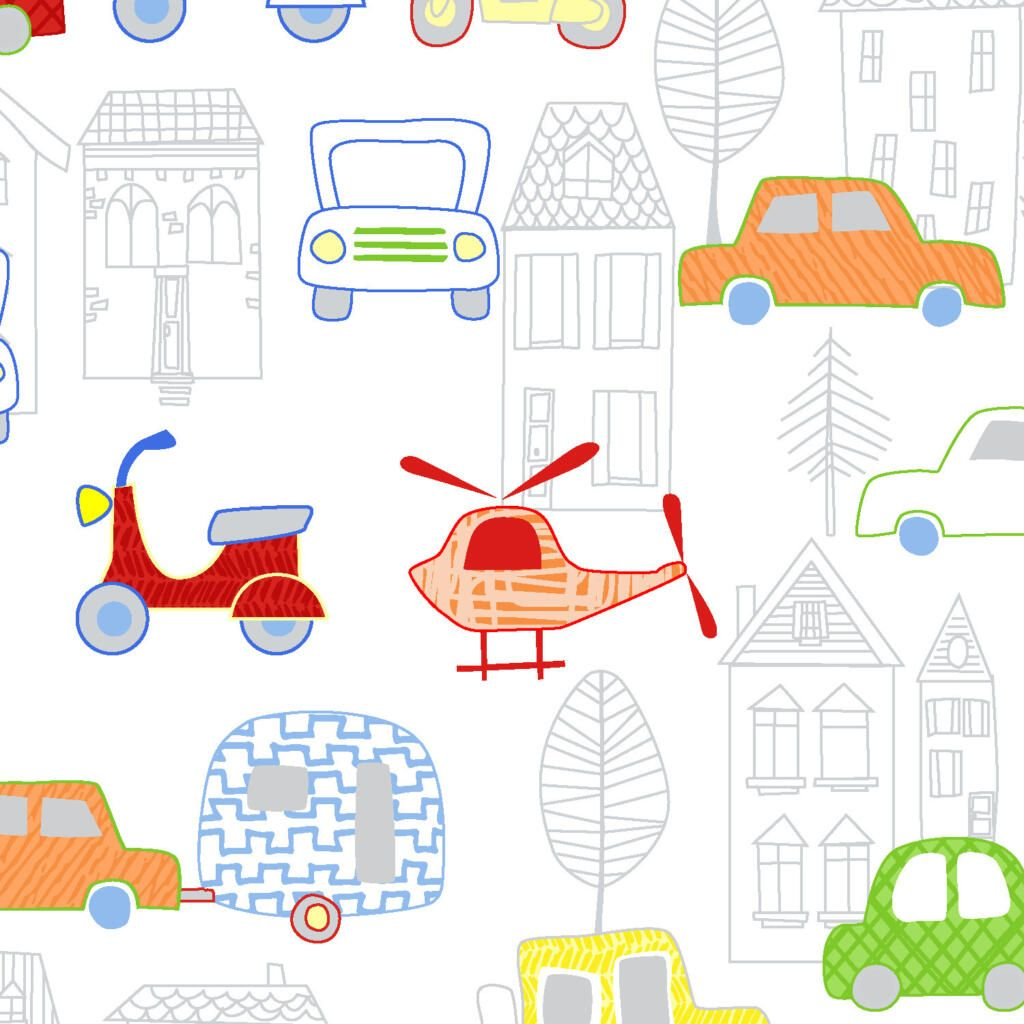 MONE N ALONG BY FABRIC EDITIONS, AUTOMOBILES AND TOWN OUTLINE, 100% COTTON.