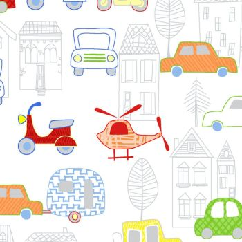 MOVE N ALONG BY FABRIC EDITIONS, AUTOMOBILES AND TOWN OUTLINE, 100% COTTON.