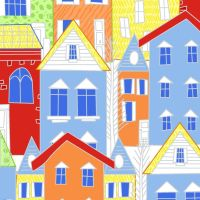 MOVE N ALONG BY FABRIC EDITIONS,  TOWN HOUSES, 100% COTTON.
