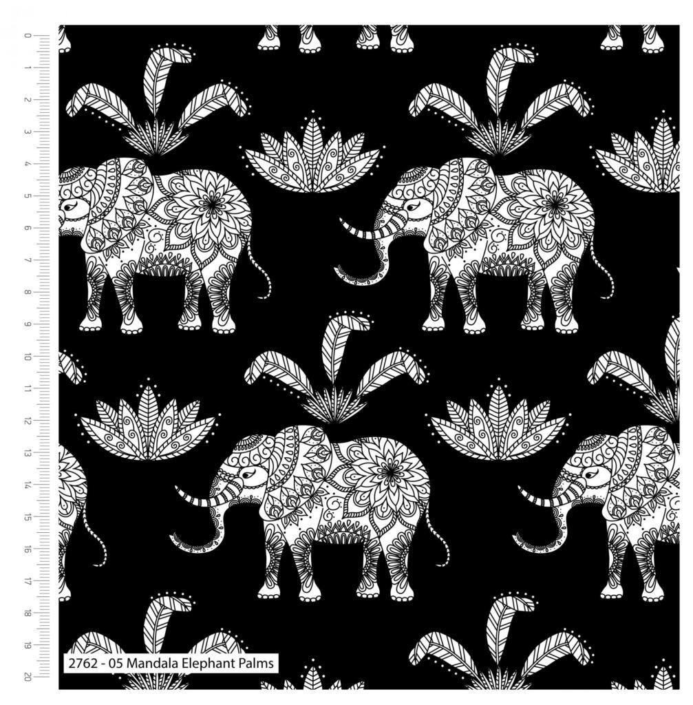 MANDALA ELEPHANT PALMS ON BLACK FROM THE CRAFT COTTON COMPANY, 100% COTTON.