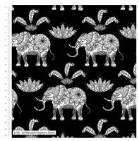 MANDALA ELEPHANTS AND PALMS ON BLACK FROM THE CRAFT COTTON COMPANY, 100% COTTON.