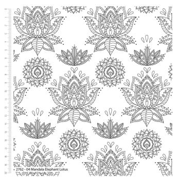 MANDALA ELEPHANT LOTUS FROM THE CRAFT COTTON COMPANY, 100% COTTON.
