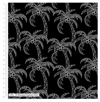 MANDALA ELEPHANT PALM ON BLACK FROM THE CRAFT COTTON COMPANY, 100% COTTON.