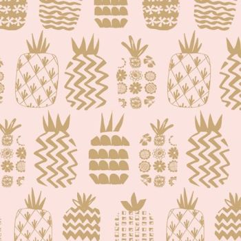 DASHWOOD STUDIOS OCEAN DRIVE METALLIC, PINEAPPLES 1470, 100% COTTON.