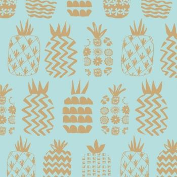 DASHWOOD STUDIOS OCEAN DRIVE METALLIC, PINEAPPLES OPTION 2 1469, 100% COTTON.
