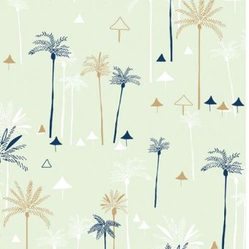 DASHWOOD STUDIOS OCEAN DRIVE METALLIC, PALM TREES 1468, 100% COTTON.