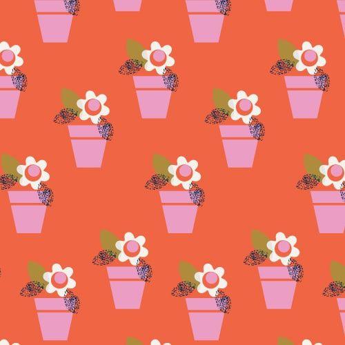 DASHWOOD STUDIOS AMELIE 1428 FLOWER POTS, 100% COTTON.