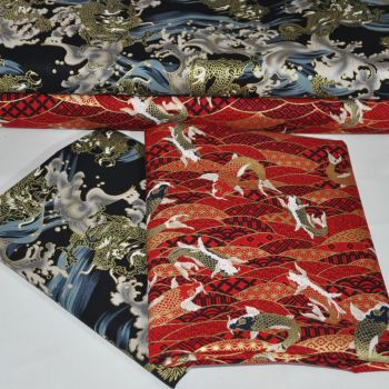 JAPANESE METALLICS FROM THE CRAFT COTTON COMPANY, 100% COTTON 60 INCH WIDE.