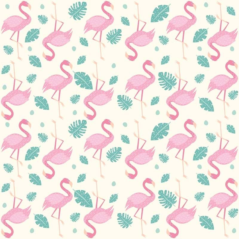 8 INCH COTTON SQUARE, FLAMINGOS ON A PALE BACKGROUND.