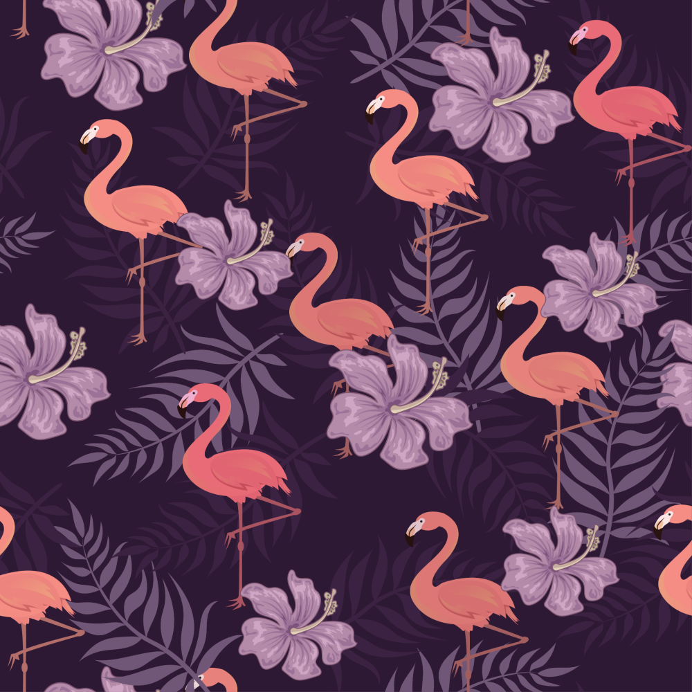8 INCH COTTON SQUARE, FLAMINGOS ON A PURPLE BACKGROUND.