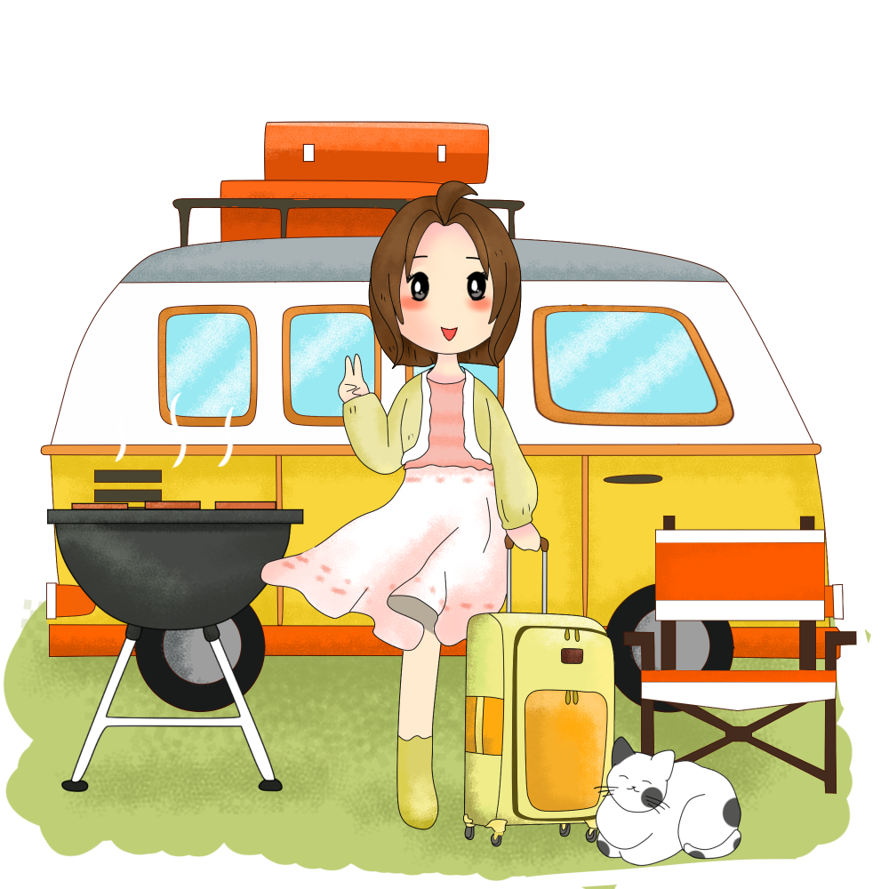 8 INCH COTTON SQUARE, GIRL WITH CARAVAN.