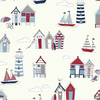 CHATHAM GLYN HAPPY DAYS NAUTICAL BEACH HUTS 100% COTTON.