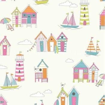 CHATHAM GLYN HAPPY DAYS TUTTIFRUTTI BEACH HUTS 100% COTTON.