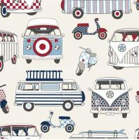 CHATHAM GLYN HAPPY CAMPERS NAUTICAL CAMPER VANS MOPEDS 100% COTTON.