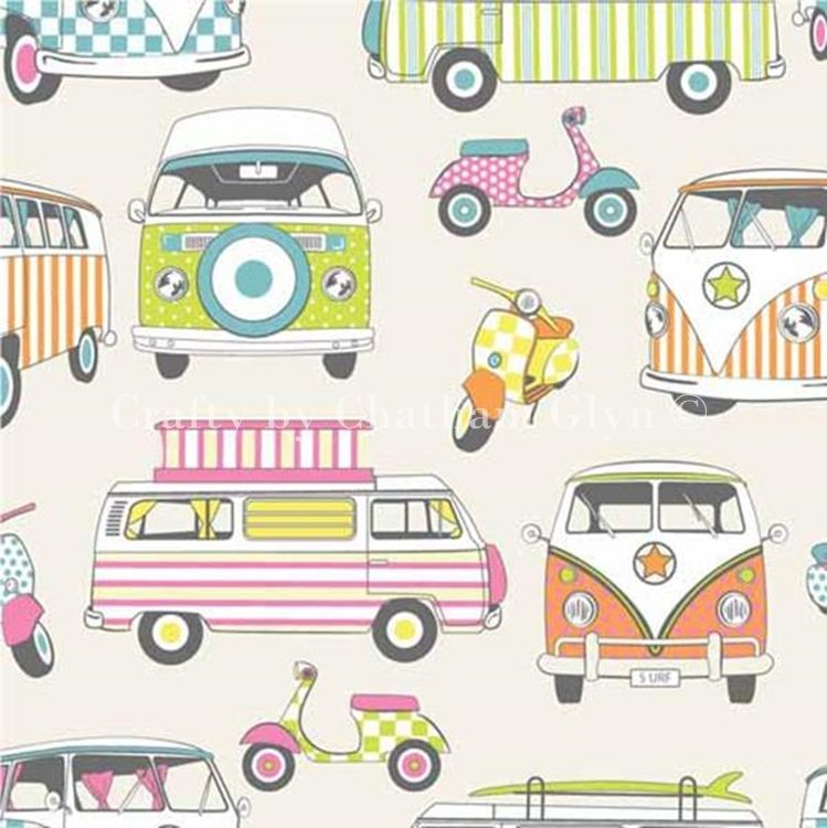 CHATHAM GLYN HAPPY CAMPERS TUTTIFRUTTI CAMPER VANS MOPEDS 100% COTTON.