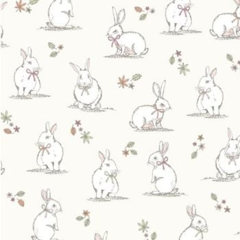 CHATHAM GLYN WOODLAND BUNNIES CREAM 100% COTTON.