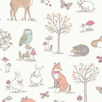 CHATHAM GLYN WOODLAND ANIMALS CREAM 100% COTTON.