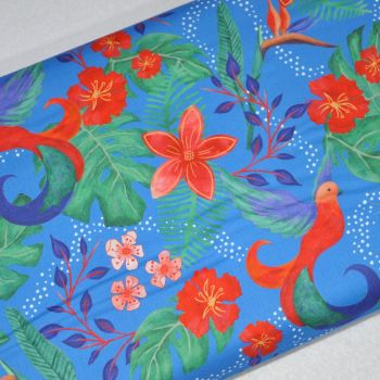 SARAH PAYNE BIRDS OF PARADISE RANGE CRAFT COTTON COMPANY, 100% COTTON. ROYAL.