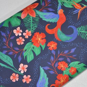SARAH PAYNE BIRDS OF PARADISE RANGE CRAFT COTTON COMPANY, 100% COTTON. NAVY.