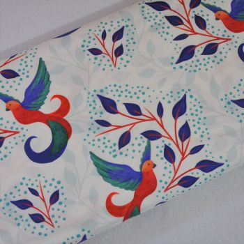 SARAH PAYNE BIRDS OF PARADISE RANGE CRAFT COTTON COMPANY, 100% COTTON. WHITE.