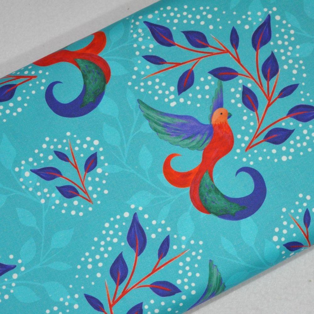 SARAH PAYNE BIRDS OF PARADISE RANGE CRAFT COTTON COMPANY, 100% COTTON. TURQ