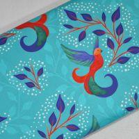 SARAH PAYNE BIRDS OF PARADISE RANGE CRAFT COTTON COMPANY, 100% COTTON. TURQ.