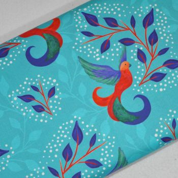 SARAH PAYNE BIRDS OF PARADISE RANGE CRAFT COTTON COMPANY, 100% COTTON. TURQ.