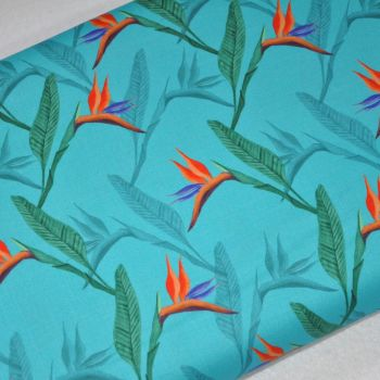 SARAH PAYNE BIRDS OF PARADISE RANGE CRAFT COTTON COMPANY, 100% COTTON. FLOWER.