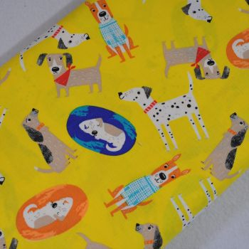 DOGS ON YELLOW, DOG PRINT COLLECTION BY FABRIC EDITIONS, 100% COTTON.