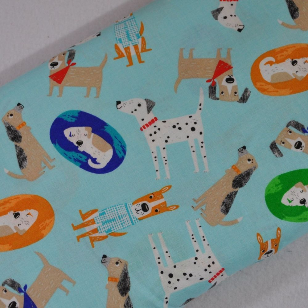 DOGS ON TURQ', DOG PRINT COLLECTION BY FABRIC EDITIONS, 100% COTTON.