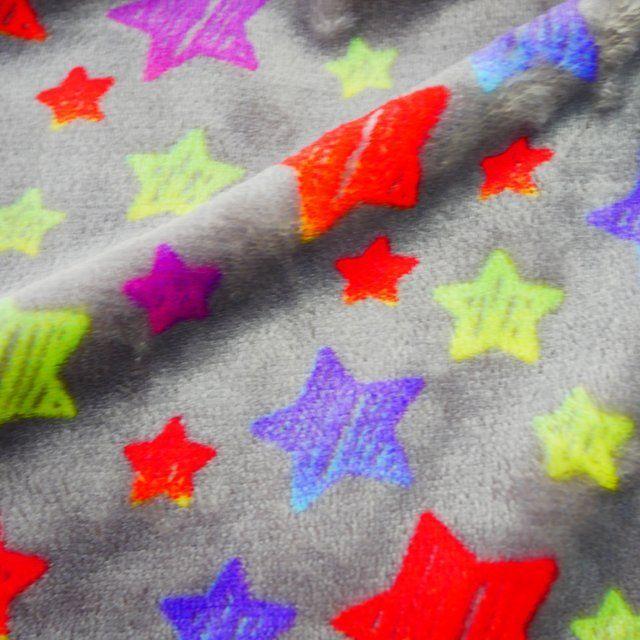NEON STARS ON GREY SUPER SOFT CUDDLE FLEECE, 58 INCH WIDE.