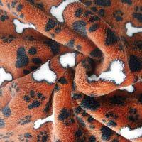 DOG BONES ON CHOC BROWN SUPER SOFT CUDDLE FLEECE, 58 INCH WIDE.