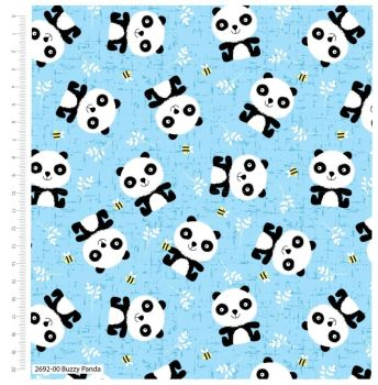 CUTE PANDAS ON BLUE BY CRAFT COTTON COMPANY, 100% COTTON.