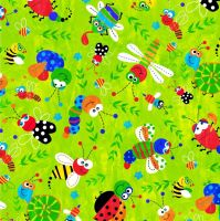 CUTE BUGS ON LIME BY CRAFT COTTON COMPANY, 100% COTTON.