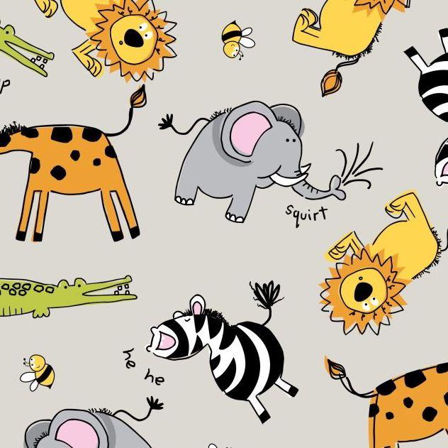 ZOO ANIMALS ON KHAKI BY CRAFT COTTON COMPANY, 100% COTTON.