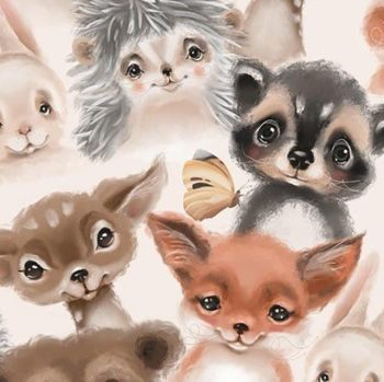 LITTLE JOHNNY WATERCOLOUR ANIMALS, DIGITALLY PRINTED 100% COTTON.
