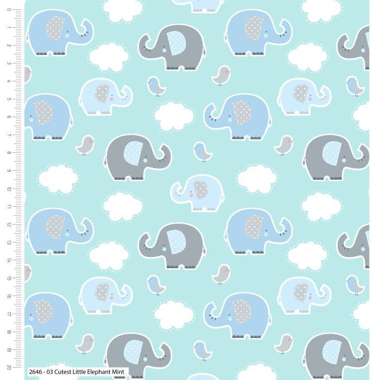 CUTEST LITTLE ELEPHANTS RANGE BY CRAFT COTTON COMPANY, 100% COTTON. MINT RA