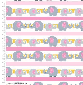 CUTEST LITTLE ELEPHANTS RANGE BY CRAFT COTTON COMPANY, 100% COTTON. PINK STRIPE.
