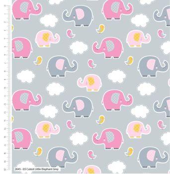 CUTEST LITTLE ELEPHANTS RANGE BY CRAFT COTTON COMPANY, 100% COTTON. RANDOM PINK GREY.