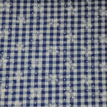 1/4 INCH BLUE AND WHITE GINGHAM WITH EMBROIDERED FLOWER DETAILING