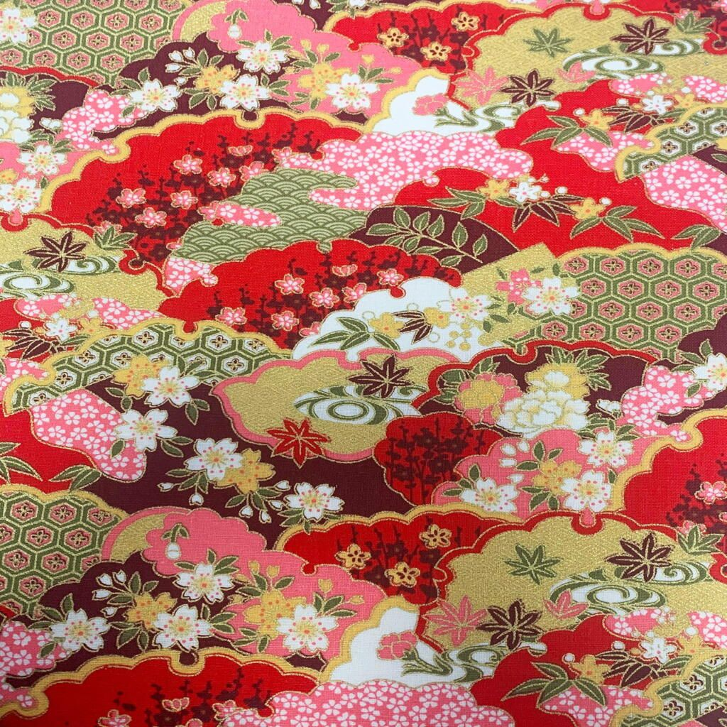 JAPANESE METALLIC 100% COTTON, MED WEIGHT. ABSTRACT FLORAL ON RED.