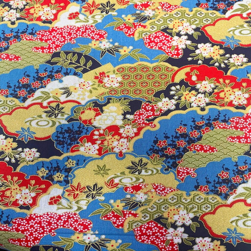 JAPANESE METALLIC 100% COTTON, MED WEIGHT. ABSTRACT FLORAL ON BLUE.