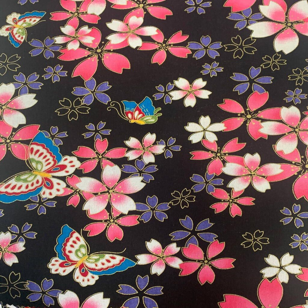 JAPANESE METALLIC 100% COTTON, MED WEIGHT.  FLORAL BUTTERFLY ON BLACK.