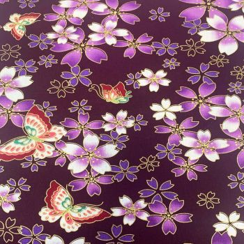 JAPANESE METALLIC 100% COTTON, MED WEIGHT.  FLORAL BUTTERFLY ON PURPLE.